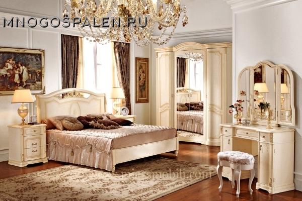 Спальня Floriana беж MIASSMOBILI купить в салоне-студии мебели Барселона mnogospalen.ru много спален мебель Италии классические современные