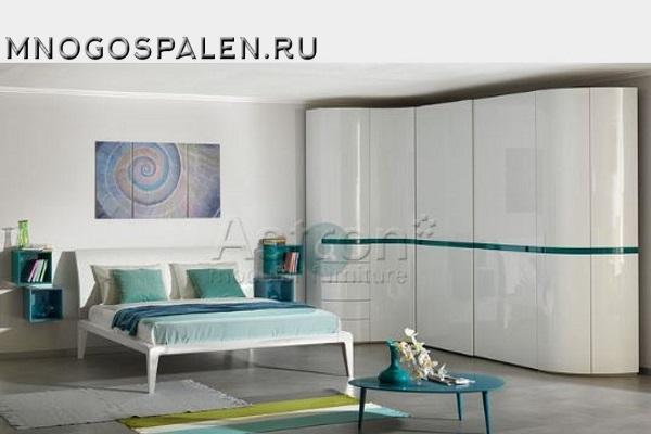 Белая глянцевая спальня Sp004 Astron купить в салоне-студии мебели Барселона mnogospalen.ru много спален мебель Италии классические современные