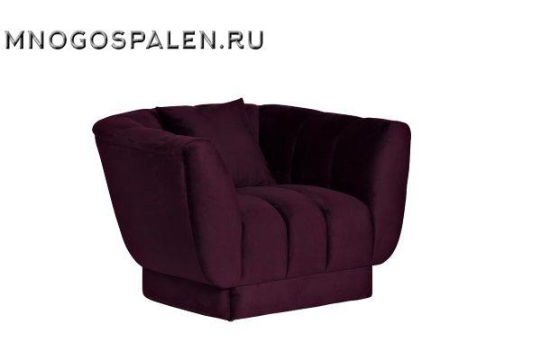 Кресло велюровое темно-фиолетовое с подушкой ZW-81101 DVI купить в салоне-студии мебели Барселона mnogospalen.ru много спален мебель Италии классические современные